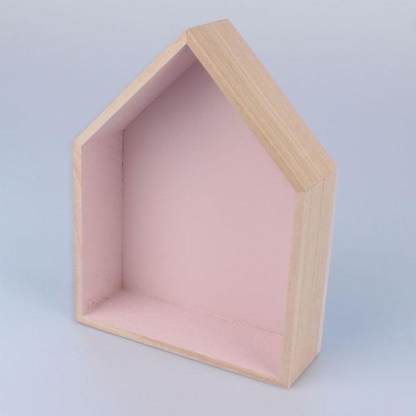 Závěsná polička Domeček 18x21 cm, růžová