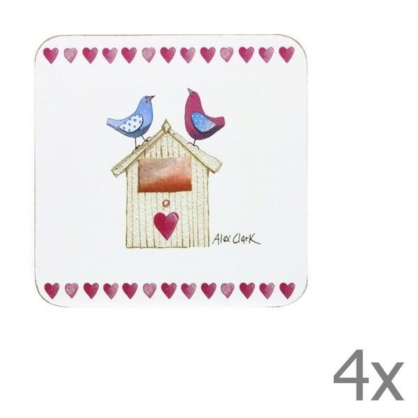 Sada 4 ks podtácků Churchill China Lovebirds, 10x10 cm