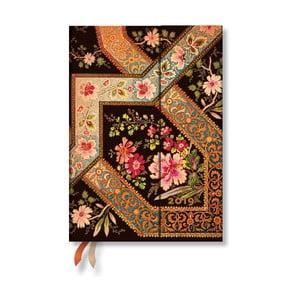 Diář na rok 2019 Paperblanks Filigree Floral Ebony Verso, 13 x 18 cm