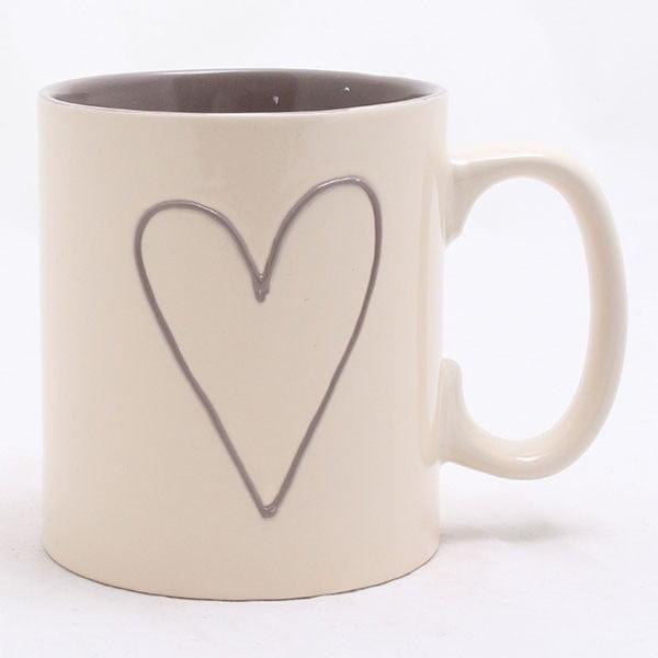 Beżowy kubek ceramiczny ręcznie zdobiony Dakls Heart Light, 600 ml