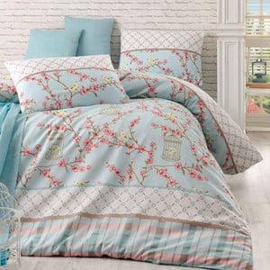 Lenjerie de pat cu cearşaf Birdcage Turquoise, 200 x 220 cm
