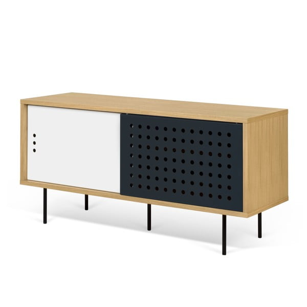 TV komoda v dekoru dubového dřeva s černobílými detaily TemaHome Dann Dots, délka 135cm