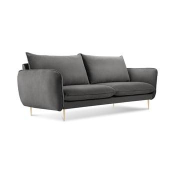 Canapea cu tapițerie din catifea Cosmopolitan Design Florence, gri închis de la Cosmopolitan Design