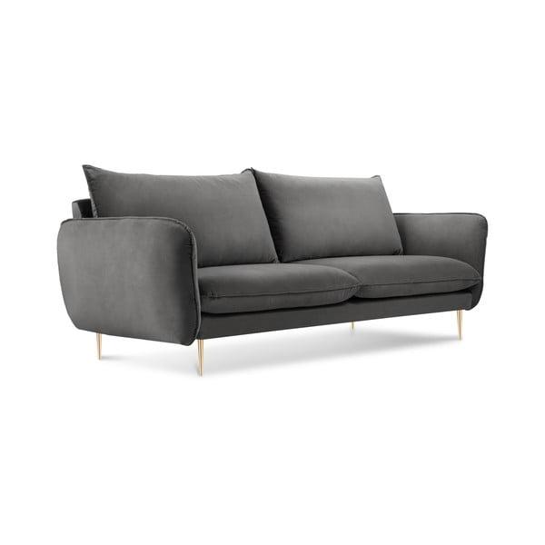 Canapea cu tapițerie din catifea Cosmopolitan Design Florence, gri închis