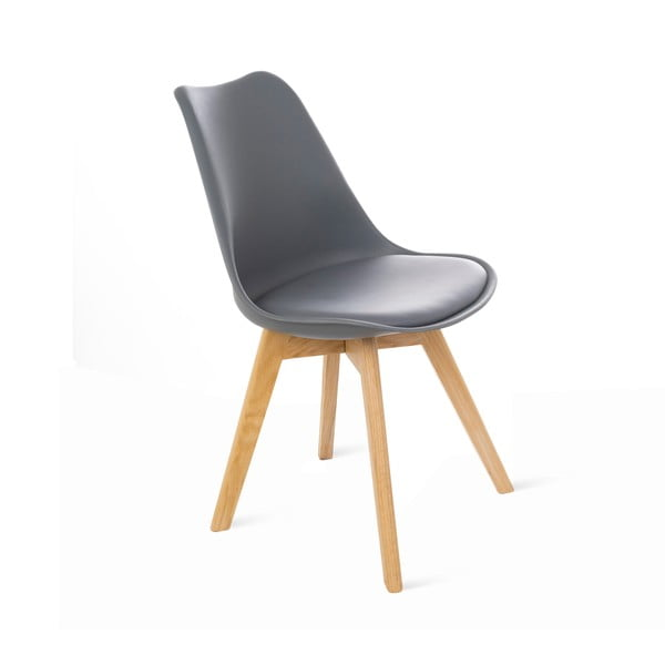 Šedá židle s dubovými nohami loomi.design