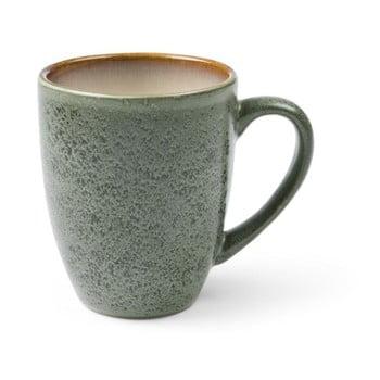 Cană cu toartă din ceramică și glazură interioară crem deschis Bitz Mensa, 300 ml, verde-gri de la Bitz