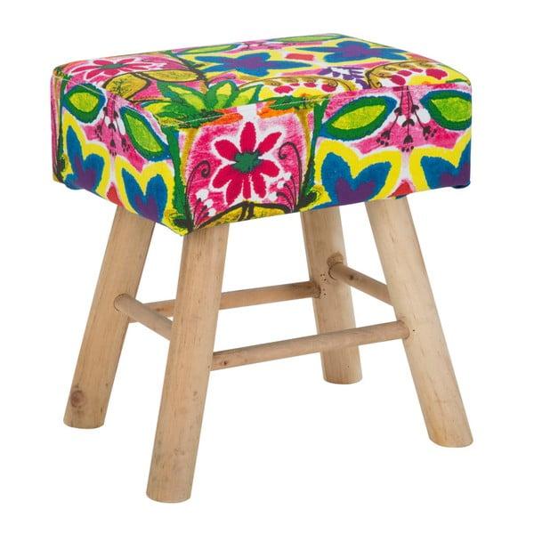 Stolička s podnožím z gumovníkového dřeva Mauro Ferretti Hippie, 37 x 42 cm