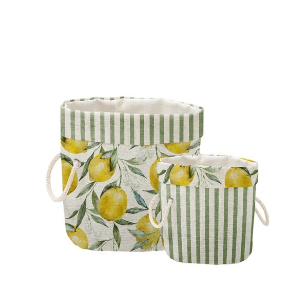 Lemons And Stripes 2 db dekorációs kosár - Linen Couture