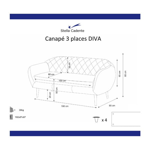 Canapea pentru 3 persoane Scandi by Stella Cadente Maison Diva, gri