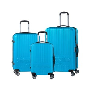 Sada 3 tyrkysově modrých cestovních kufrů na kolečkách se kódovým zámkem SINEQUANONE