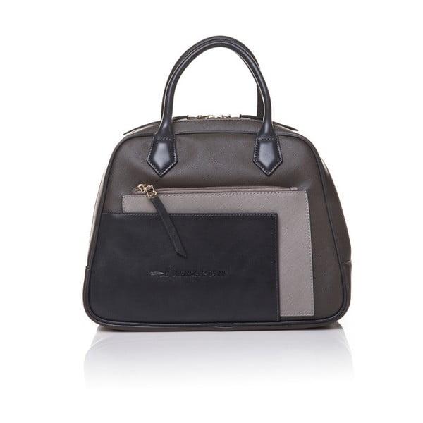 Kožená kabelka do ruky Marta Ponti Handy, šedá/béžová