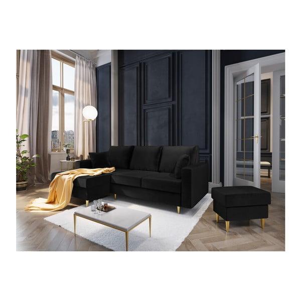 Černá čtyřmístná rozkládací pohovka s úložným prostorem Mazzini Sofas Muguet, levý roh