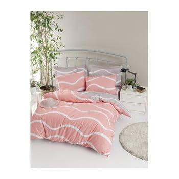 Lenjerie de pat cu cearșaf din bumbac ranforce, pentru pat dublu Mijolnir Novia Pink, 160 x 220 cm