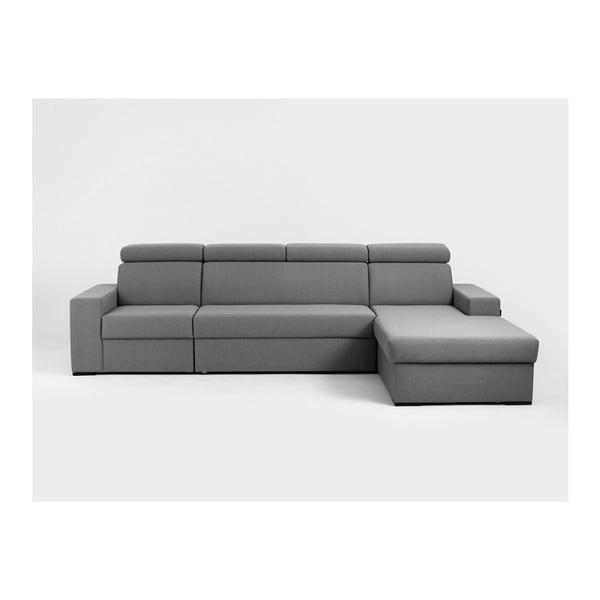 Canapea colțar cu șezlong pe partea dreaptă Custom Form Atlanta, gri