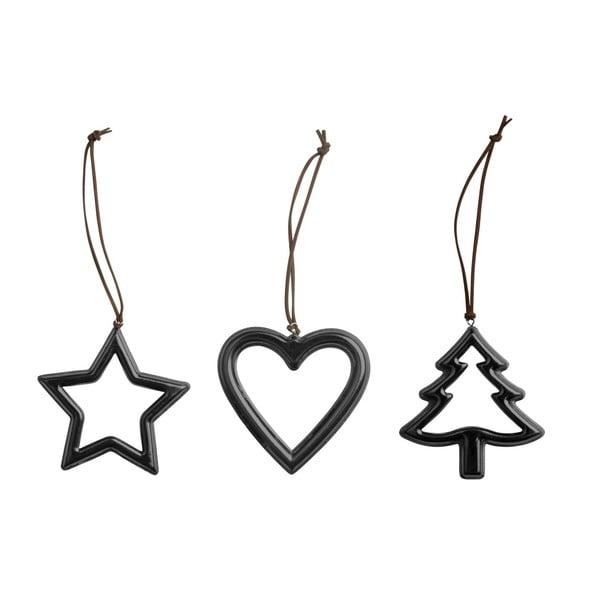 Sada 3 vánočních dekorací KJ Collection Metal Black