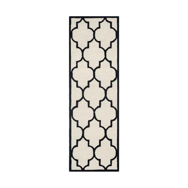 Bíločerný vlněný koberec Safavieh Everly, 243 x 76 cm