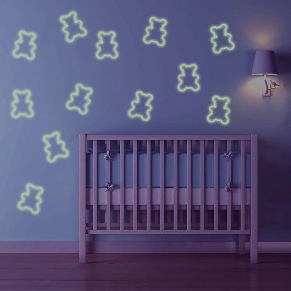 Svítící samolepka Vykrojení medvídci, 60x30 cm