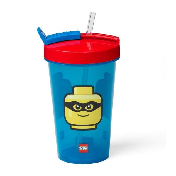 Pahar cu capac roșu și pai LEGO® Iconic, 500 ml, albastru