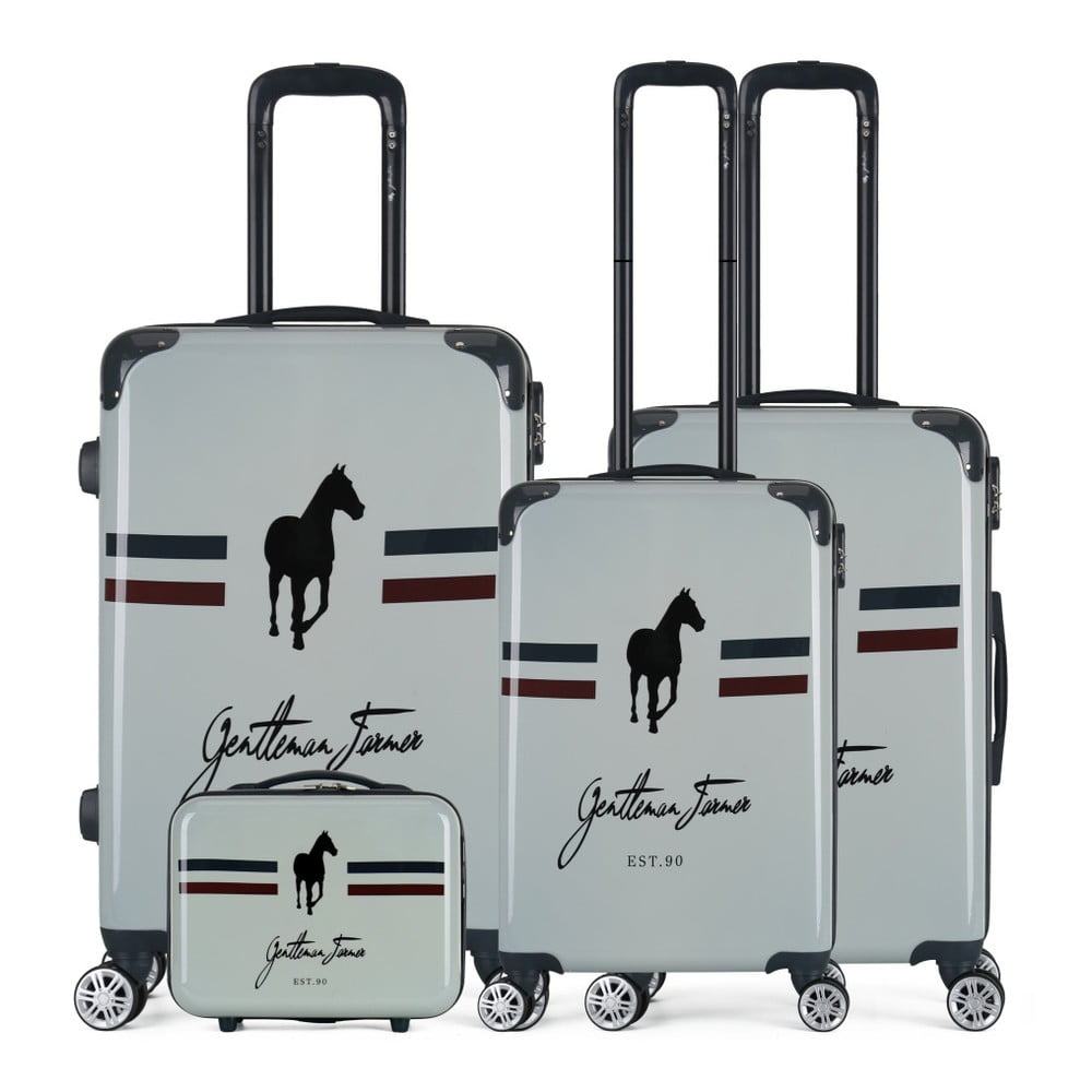 Sada 4 béžových cestovních kufrů na kolečkách GENTLEMAN FARMER Integre & Vanity Malo