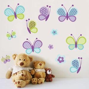 Samolepka na stěnu Motýlci a květiny, 60x90 cm