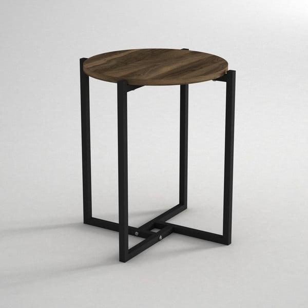 Noce kisasztal diófamintás asztallappal, ⌀ 49 cm