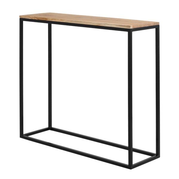 Černý konzolový stolek s dubovou deskou Custom Form Julita