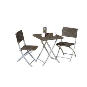 Set 2 tmavě hnědých zahradních židlí a stolu ADDU Norfolk