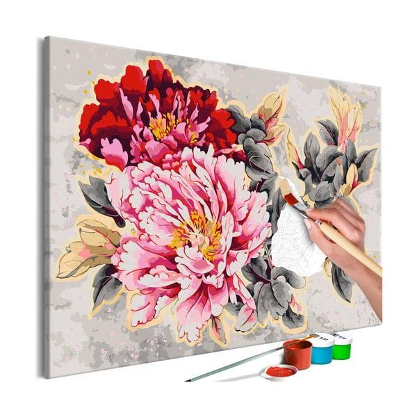 DIY set na tvorbu vlastného obrazu na plátne Artgeist Beautiful Peonies, 120×80 cm