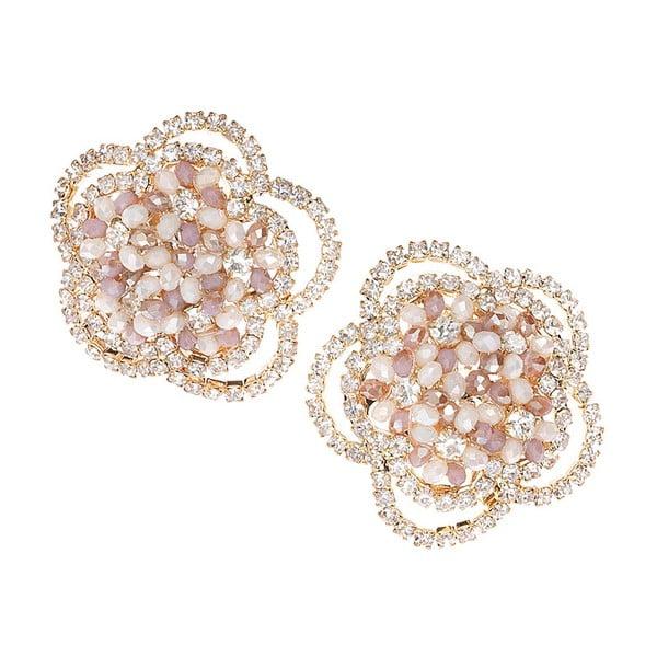 Růžové náušnice s krystaly Ottaviani Flower