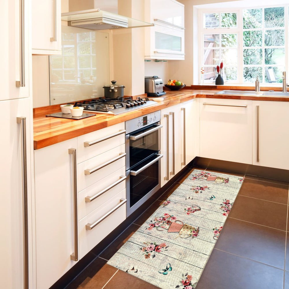 Vysoce odolný kuchyňský koberec Webtappeti French Garden, 60 x 190 cm