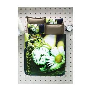 Lenjerie de pat cu cearșaf din bumbac satinat Time, 200 x 220 cm
