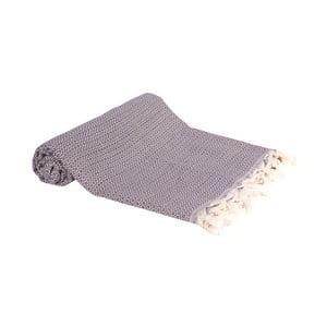 Tmavě fialová ručně tkaná osuška Ivy's Emel, 100x180cm