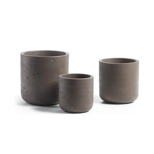 Sada 3 tmavě hnědých cementových květináčů La Forma Lux