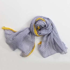 Šátek, černobílý vzor s akcentem žluté