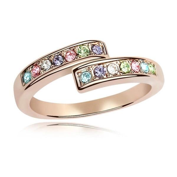 Prsten s krystaly Swarovski a růžovým zlatem Letticia, velikost 52