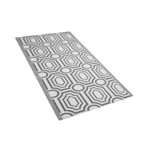 Šedo-bílý venkovní koberec Monobeli Mismo, 90 x 180 cm