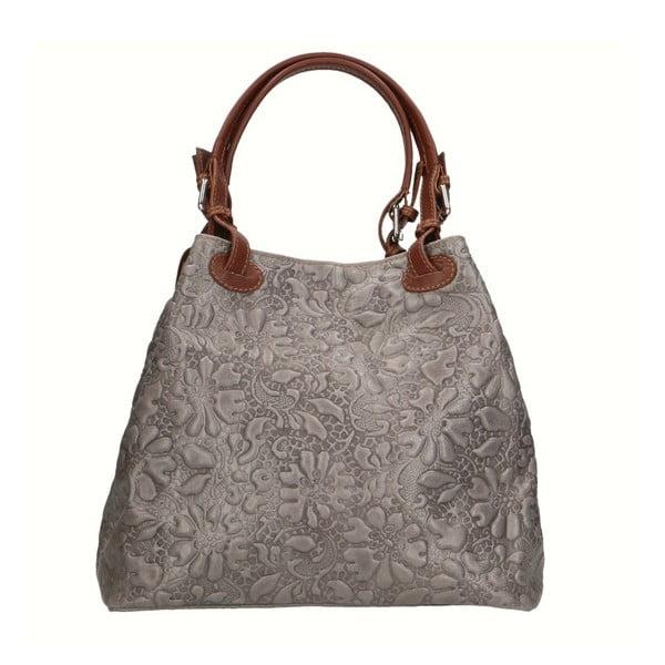 Sivobéžová kožená kabelka Chicca Borse Origono
