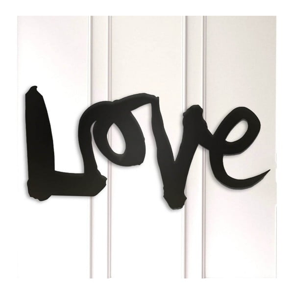 Černá kovová nástěnná dekorace Love