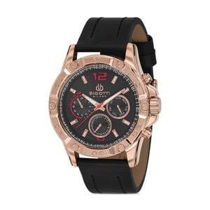 Pánské hodinky s černým koženým řemínkem Bigotti Milano Livado
