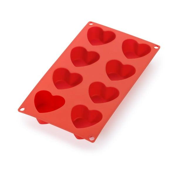 Červená silikonová forma na 8 mini dezertů ve tvaru srdce Lékué