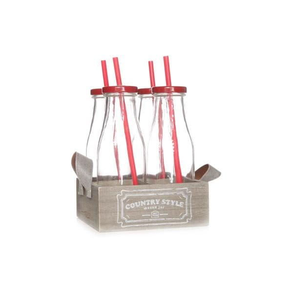 Přenoska se 4 červenými lahvemi Cosy&TrendyCountry Style