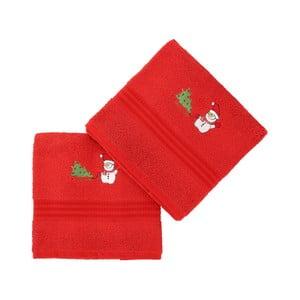 Sada 2 červených vánočních ručníků Snowy, 70x140 cm