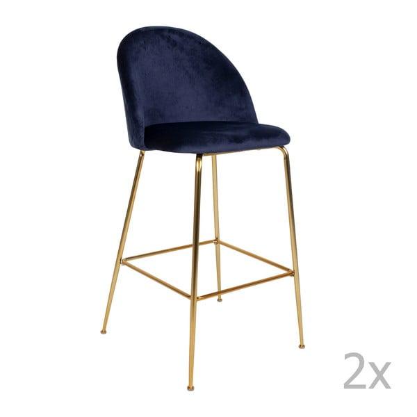Sada 2 modrých barových stoličiek so zamatovým poťahom s nohami farby mosadze House Nordic Lausanne