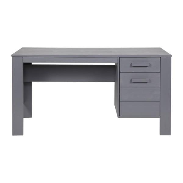 Ocelově šedý psací stůl z borovicového dřeva De Eekhoorn Dennis
