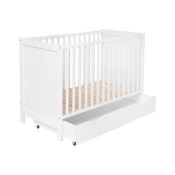 Pătuț pentru copii cu sertar și grilaj reglabil KICOTI Simple, 60x120cm imagine