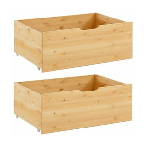 Set 2 sertare suplimentare pentru pat, din lemn masiv de pin, Støraa Barney