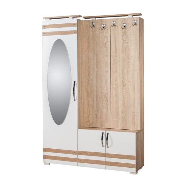 Hnědo-bílá předsíňová stěna se zrcadlem Síhirlí, výška 195 cm