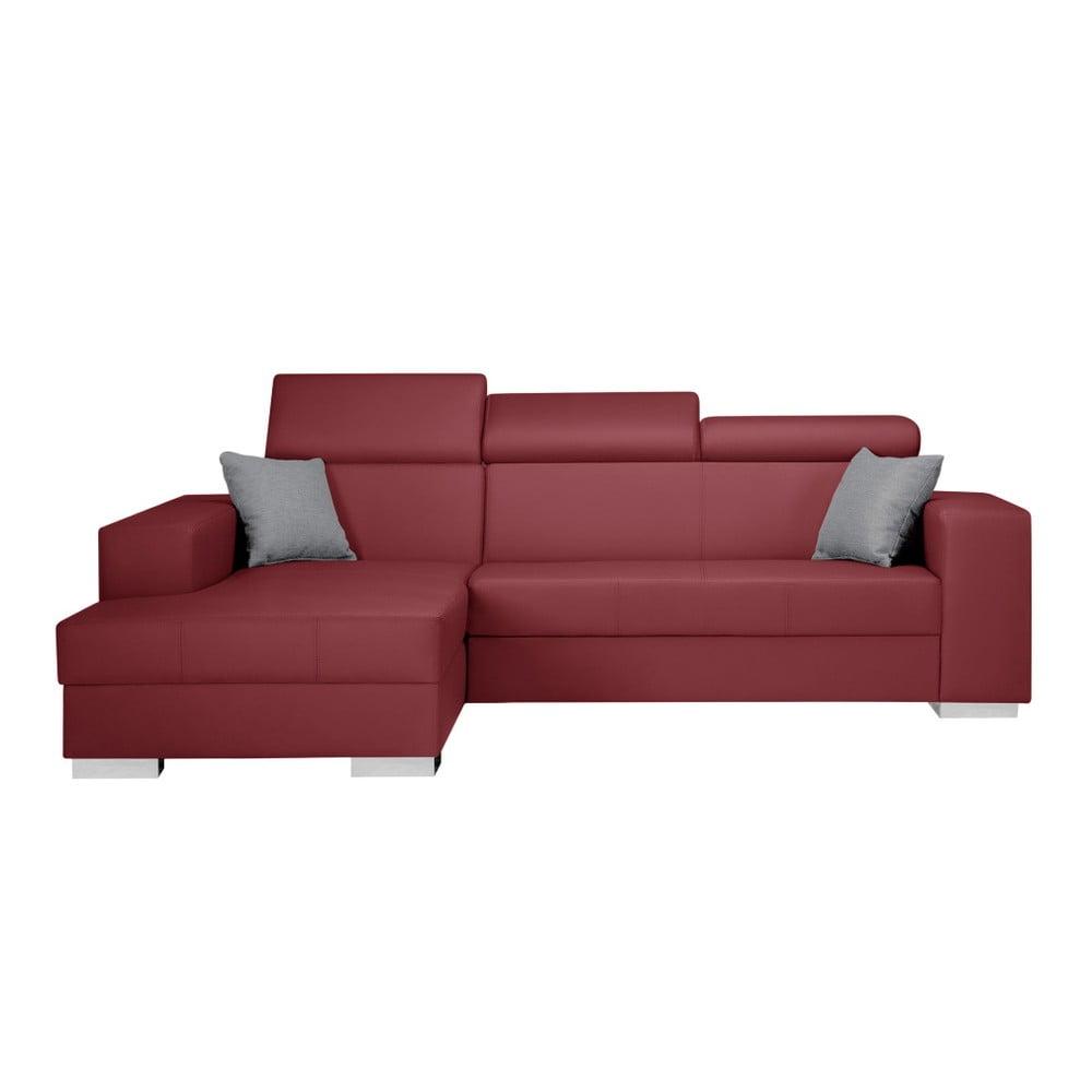 Červená sedačka s šedými polštáři Interieur De Famille Paris Tresor, levý roh