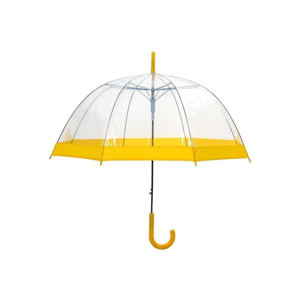 Transparentní holový deštník se žlutými detaily Ambiance Birdcage Border, ⌀85cm