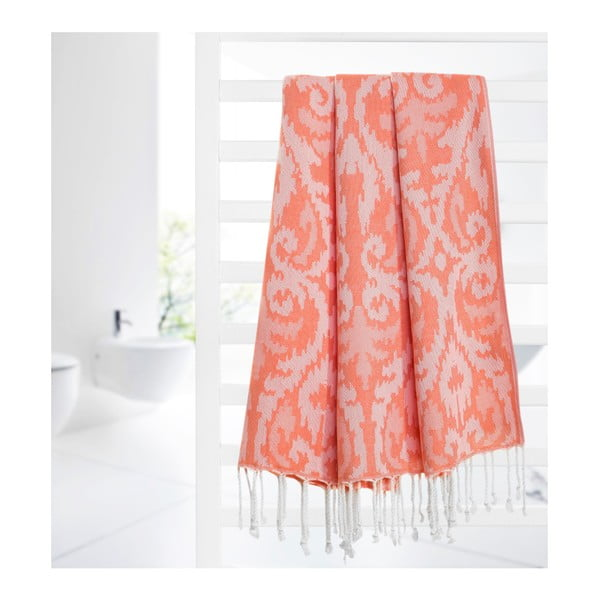 Oranžová hammam osuška z bavlněných a bambusových vláken Begonville Legacy, 180x95cm